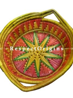 Beautiful Handwoven Yellow Base With Red & Green Moonj Grass Eco-friendly Round Bread or Fruit Basket With Handle; RespectOrigins