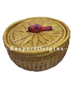 Stunning Handwoven Yellow Moonj Grass Eco-friendly Round Bread or Fruit Basket With Lid and Wooden Bird Handle; RespectOrigins