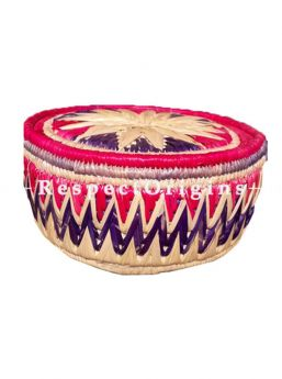 Beautifully Made Handwoven Moonj Grass Eco-friendly Round Bread or Fruit Basket With Lid; Beige