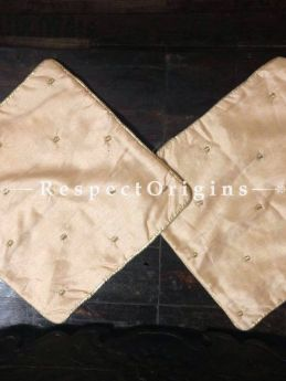 Buy Ivory Set of 2 Small Cream Silk Square Varanasi Brocade Cushion Cover At RespectOrigins.com