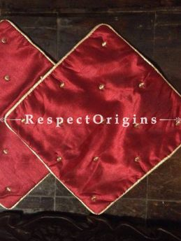 Buy Silken Set of 2 Small Red Silk Square Varanasi Brocade Cushion Cover; Available in Red, Cream Colors At RespectOrigins.com
