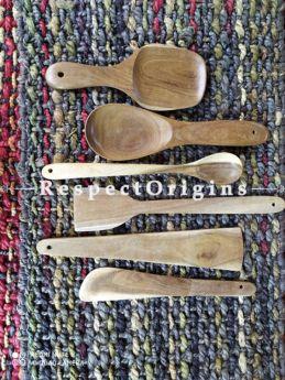 Set of 6 Natural Handmade Cooking Ladle; Wooden, RespectOrigins