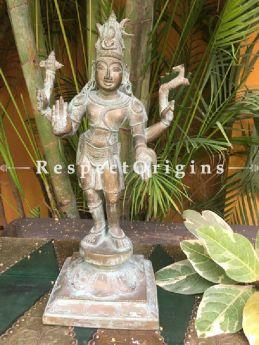 Buy Bronze Narayana or Vishnu Statue With Square Base from Tamil Nadu At RespectOriigns.com