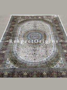 Buy Pure Silk Kashmiri Carpet White 5x7 Ft; Maqbool Kashan At RespectOriigns.com