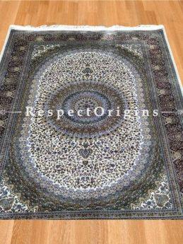 Buy Pure Silk Kashmiri Carpet White 6x4; Maqbool Kashan At RespectOriigns.com