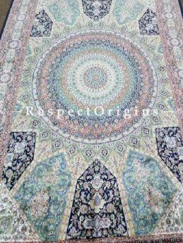 Buy Pure Silk Kashmiri Carpet Blue 5x7 Ft; Tabrez At RespectOriigns.com