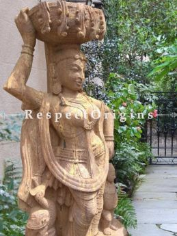 Buy Glamorous intricately Carved Large Stone Devadasi with A Basket for Outdoor or indoor Statue; 6 Feet At RespectOriigns.com
