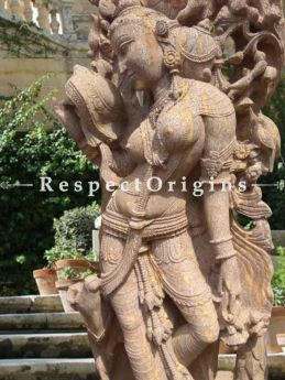 Buy Marvellous Stone Carved Devadasi Statue for Entraceways Gardens or Pool; 6 Feet At RespectOriigns.com