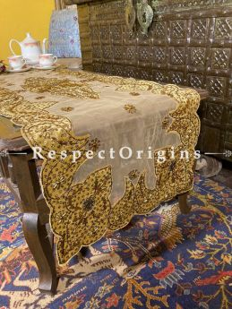 Joyful Yellow-on-Beige Christmas Holiday Party Dining Table-runner embellished with Beadwork and Sequins; Great Gift; RespectOrigins.com