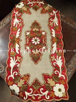 Buy Handcrafted Table Runner with Heavy Hand Embroidery and Beadwork 33x17 in At RespectOrigins.com