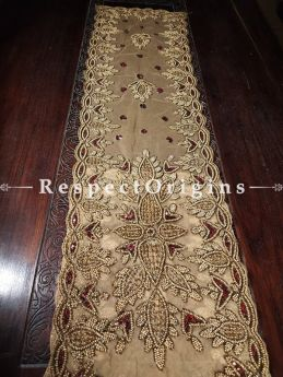 Buy Table Runner, Golden Red Beads, Brown, Beadwork Handcrafted 88x16 Inches At RespectOrigins.com
