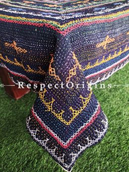 Navy Antique E at RespectOrigins.commbroidery on a Kantha Stitch Reversible Table-Cloth at respect origins.com