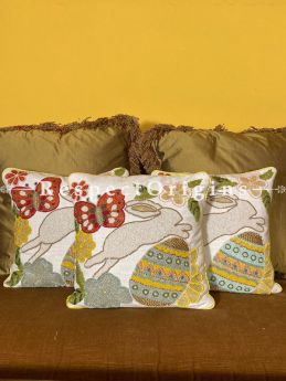 Adorable Rabbit throw Cushions Trio Handcrafted & Embellished with Beadwork on Satin Silk. Ideal X'mas Holiday Birthday Housewarming Gift!; RespectOrigins.com