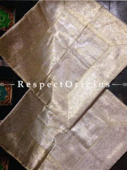 Buy Varanasi Brocade Silk Silver Square Cushion Cover; Set of 2 At RespectOrigins.com